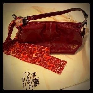 Coach small patent leather red purse